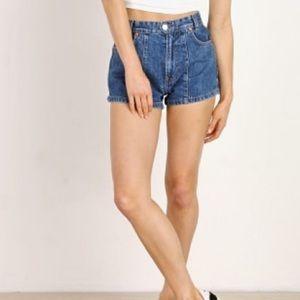 RE/DONE x Solid Striped High Waist Denim Shorts